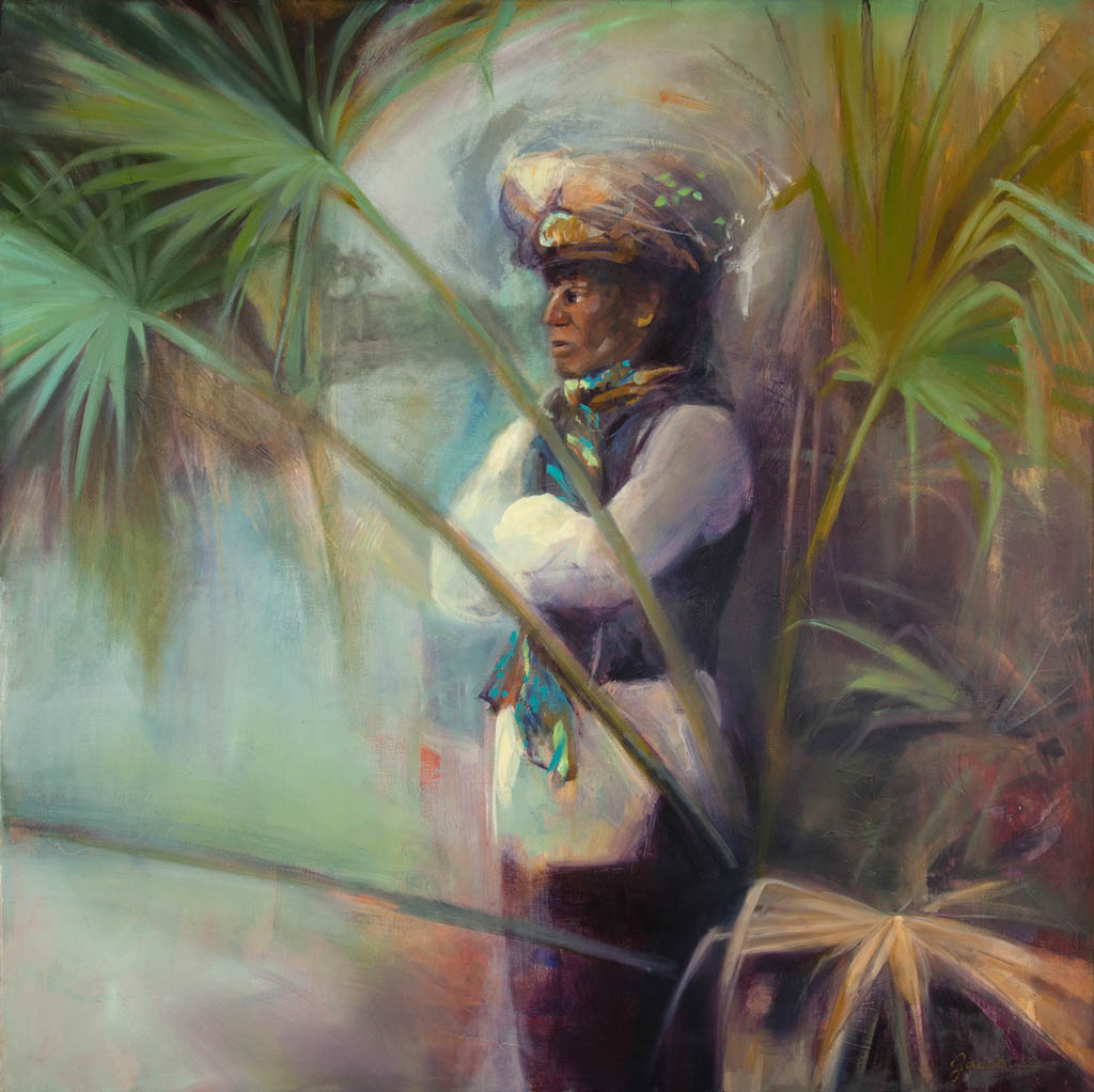 """48"""" x 50"""" - 121 x 127 cm, oil on linen. Portrait of a Seminole Indian called Dr.Tiger."""