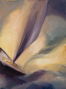 Painted after a book with the same title about a sailing adventure. It is about drama and casting shadows over ever moving waves.