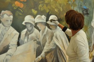 While making the mural I am painting the portrait of the founders of the university of Miami