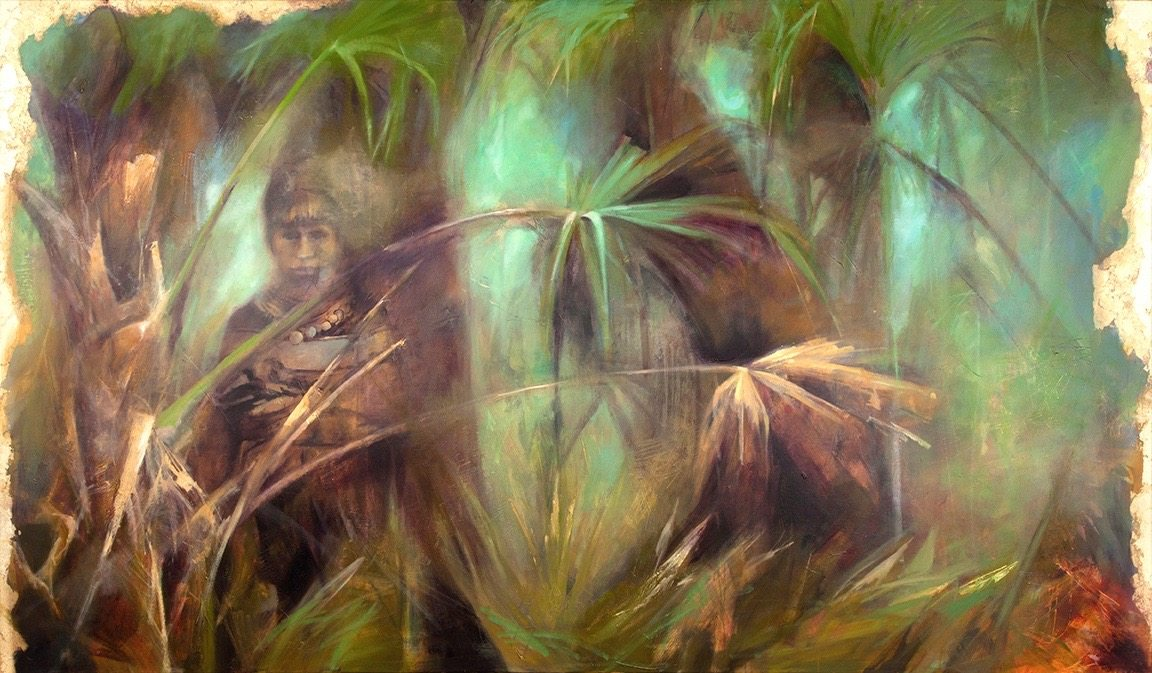 "Jacobina Trump. This large oil painting is inspired by the book ""A land remembered"" by Patrick D. Smith. Miccosukee Indians of South Florida"