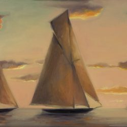 Sunset sailing of J-class boats